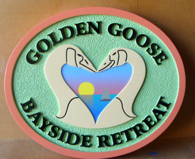 "T29124- Carved  and Sandblasted  HDU Sign for the  ""Golden Goose Bayside Retreat"" , featuring Two Geese as Artwork"