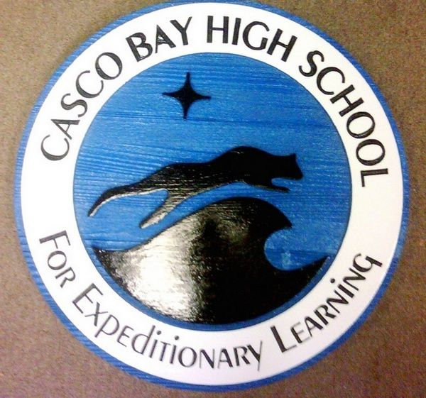 Y34820 - Carved 2.5-D Sandblasted Cedar Wall Plaque with Logo of Casco Bay High School