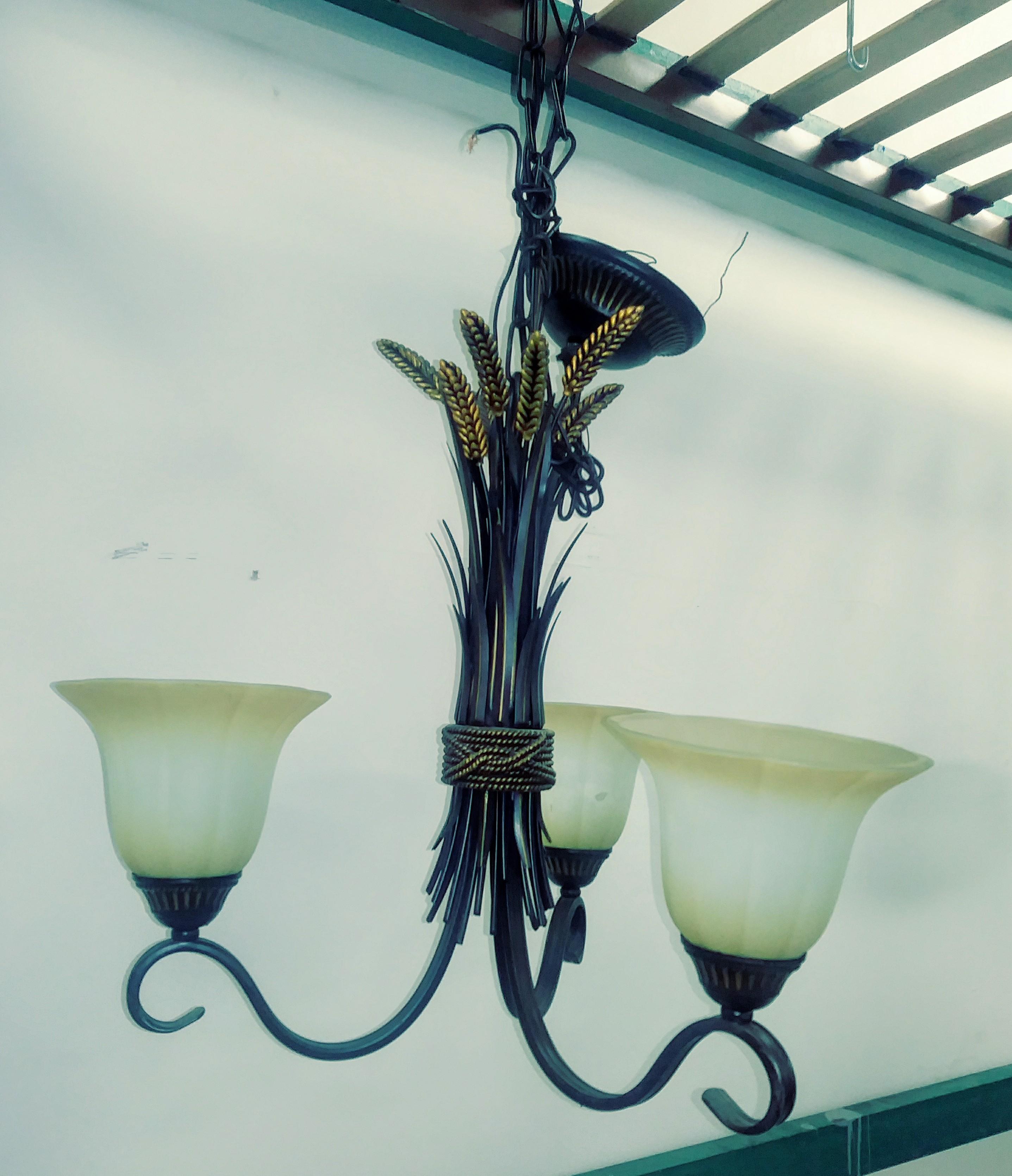 3-Light Chandelier w/ Wheat Decor
