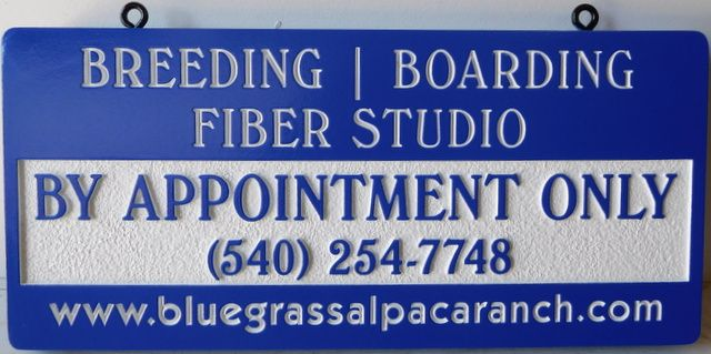 O24207 - Carved, Sandblasted, and Engraved HDU Hanging Sign for a Breeding and Boarding Fiber Studio