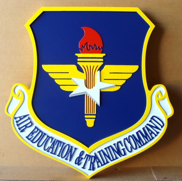 LP-1720 - Carved Plaque of the Shield Crest of the Air Education & Training Command, 2.5-D  Artist Painted