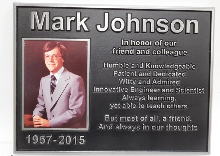 ZP-3005- Carved Memorial  Photo Plaque  for  Mark Johnson, Plated with German Silver