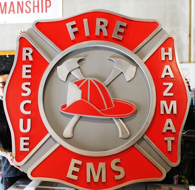 QP-1174 - Large Carved 3-D HDU Plaque of a Badge of a Fire and EMS Department
