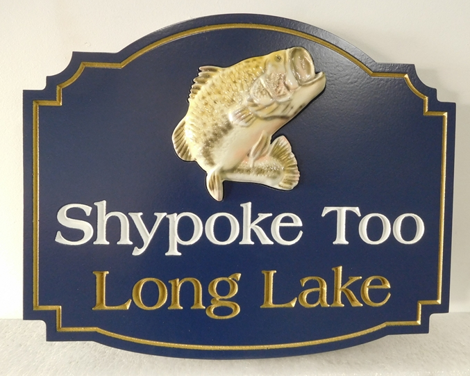 "M22551 - Lake Home ""Shypoke Too""  with 3-D Carved Jumping Trout"