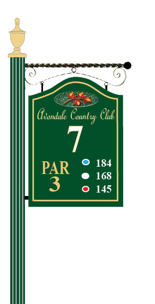 E14390 - Wooden Golf Tee Sign Hanging from A Scroll Bracket