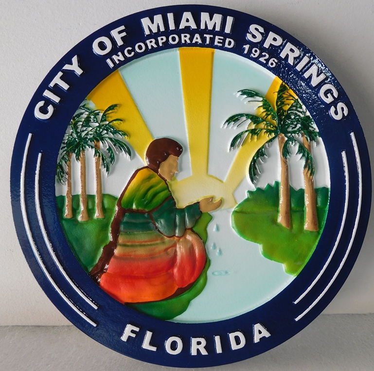 DP-1660 - Carved Plaque of the Seal of the City of Miami Springs, Florida,  Artist Painted