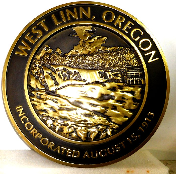 DP-2340 - Carved Plaque of the Seal of the City of West Linn, Oregon,  Brass Plated