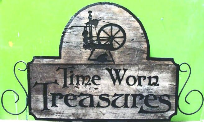 """SA28345 - Antique-Look Distressed Wood Sign for Antique Store """"Timeworn Treasures""""."""