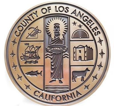 X33414 - Engraved Brass-plated HDU Plaque of the Seal of the  County of Los Angeles
