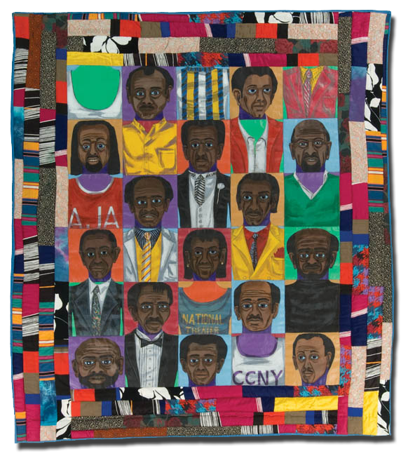 'The Men:  Mask Face Quilt #2,' made by Faith Ringgold, made in New York, New York, United States, dated 1986, 69.5 x 62 in, IQSCM 1997.007.1083