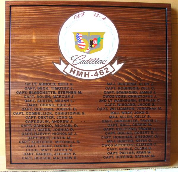 """V31818 – Engraved Cedar Wall Plaque of a Personnel list for a US Army  Unit, with text """"Cadillac – HMH-462"""""""
