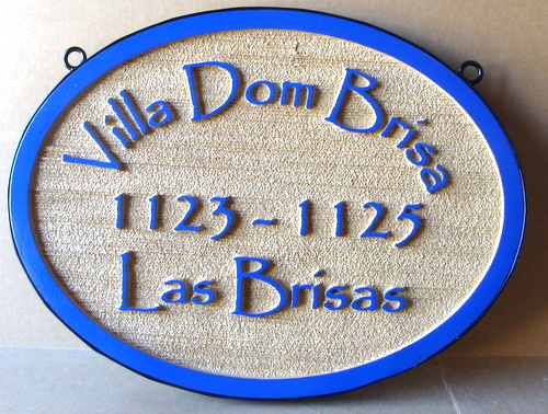 "L21145 - Sandblasted HDU Address Sign ""Villa Dom Brisas"""