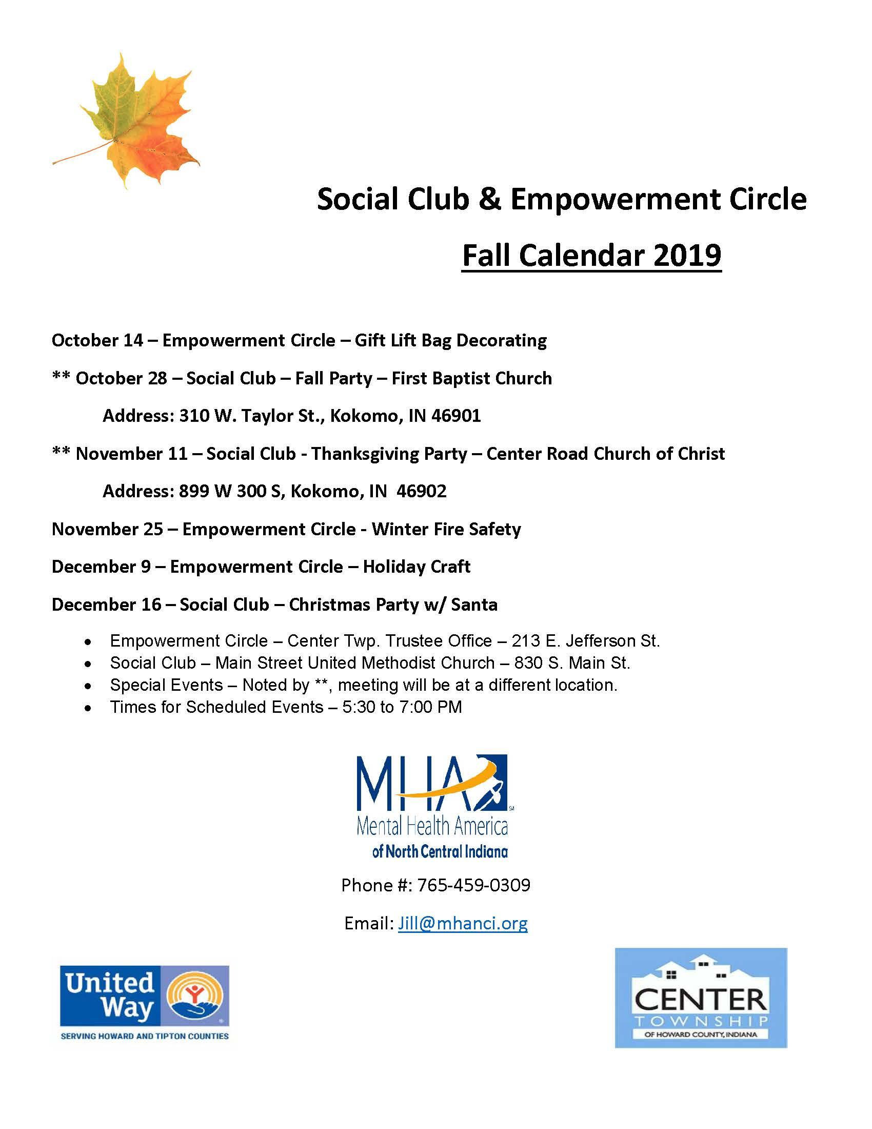 Social Club & Empowerment Circle - 4th Quarter Calendar