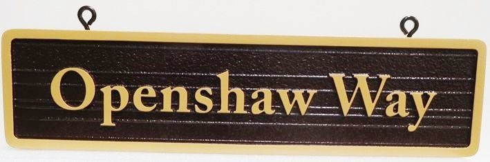 H17023 - Carved and Sandblasted Wood Grain Street Name Sign, Raised Text and Border