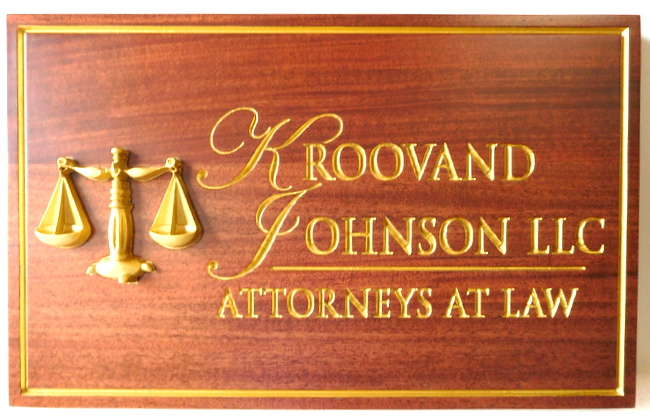 A10002 - Carved and Engraved Mahogany Law Firm Plaque, with 24K Gold Leafed-Text, Border and 3-D Scales of Justice