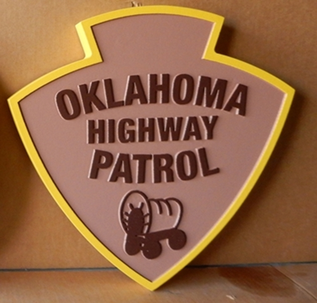 PP-2380 - Carved  Wall Plaque of the Shoulder Patch of the Oklahoma Highway Patrol,  Artist Painted