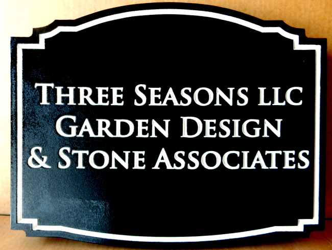 "S28077 - Engraved Sign for the ""Three Seasons"" Garden Design and Stone Associates"