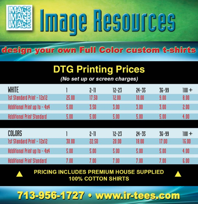ir tees houston tx | garment printing prices