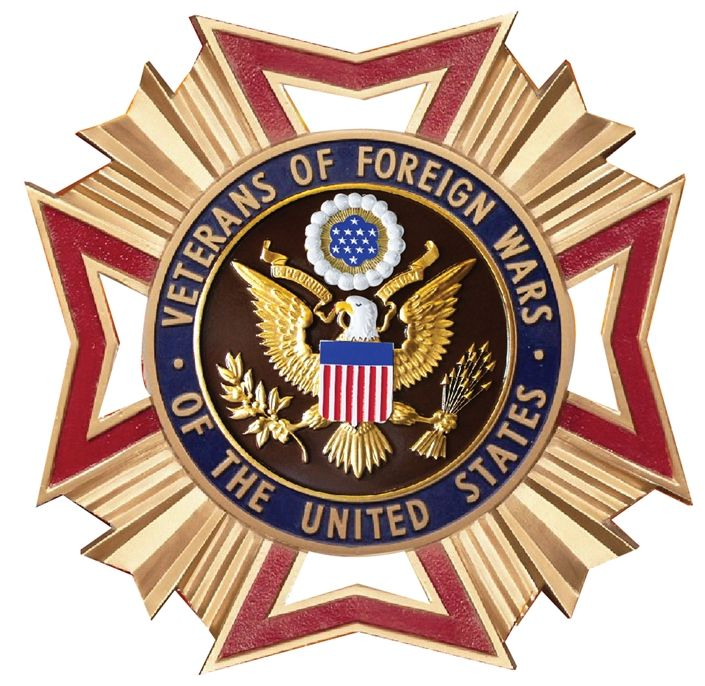 UP-1050 - Carved Wall Plaque of the Badge of the Veterans of Foreign Wars , USA, Artist Painted with Gold Leaf Gilding