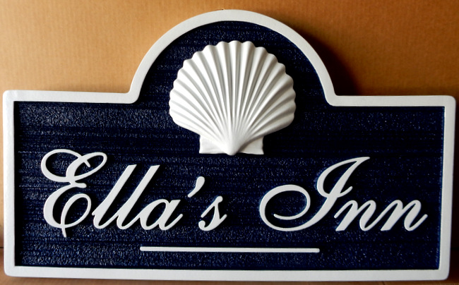 "T29125 - Carved  and Sandblasted Wood Grain HDU Sign for""Ella's Inn"", with 3-D Carved Seashell as Artwork"