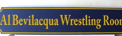 "FA15676 - Engraved  ""Al Revilaqua Wrestling Room"" Sign"