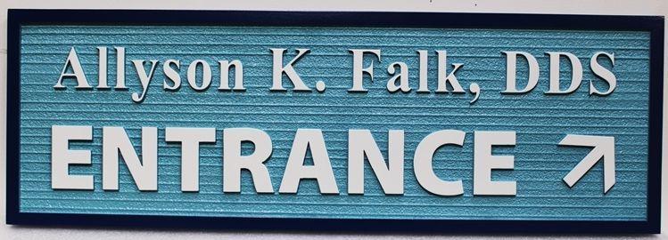 """BA11671 - Carved DirectionalSign for """"Allyson Falk, DDS - Entrance"""""""