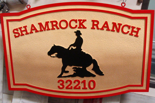 O24310 - Carved and Sandblasted Shamrock Ranch Entrance Sign, with Cowboy and Horse