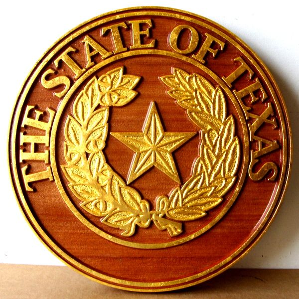 HP-1420 - Carved Plaque of the Seal of a County Court, Texas, Gold Gilding on  Redwood