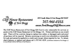 Cliff House Gift Card Back