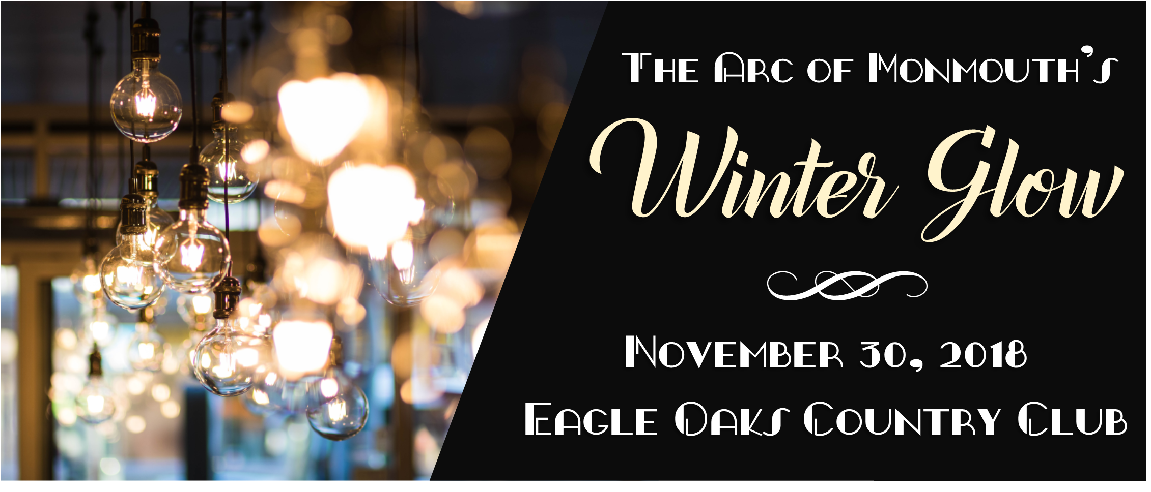 Banner for Winter Glow 2018; industrial edison bulbs hang to portray a modern speakeasy.