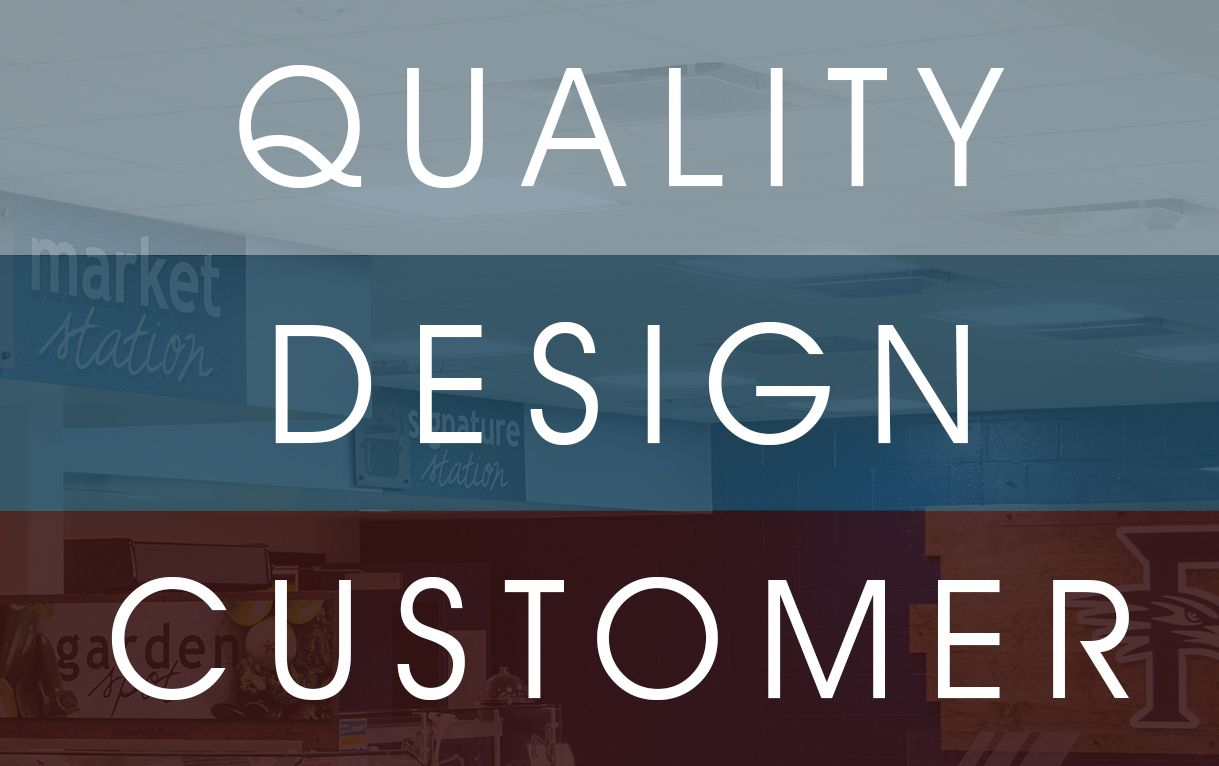 Quality, Design, Customer image, represents the Descon signage company mission statement