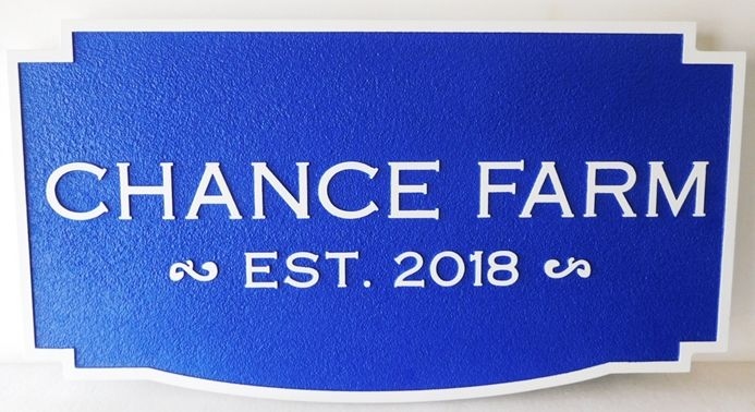 "O24095 - Carved and Sandblasted HDU Entrance Sign for  ""Chance Farm"""