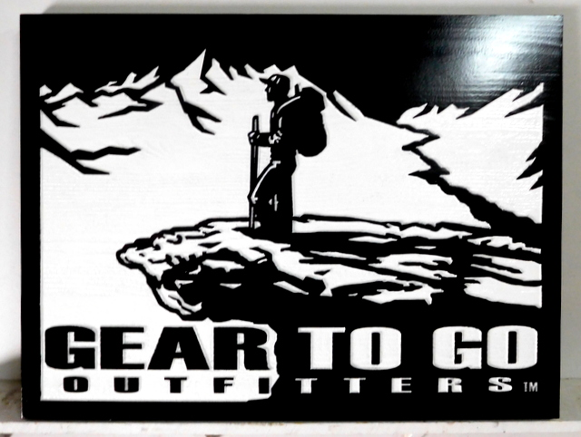 "SA28039 - Carved Wood Sign for"" Gear to Go Outfitters"" Store."