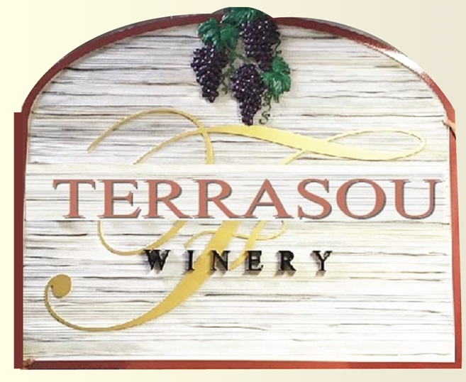 R27010 - Large Carved and Sandblasted 3-D  High-Density-Urethane (HDU) Terrasou Winery Sign