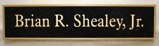 C12216 - Sandblasted HDU Door or Wall Staff Name Plaque, Black and Gold