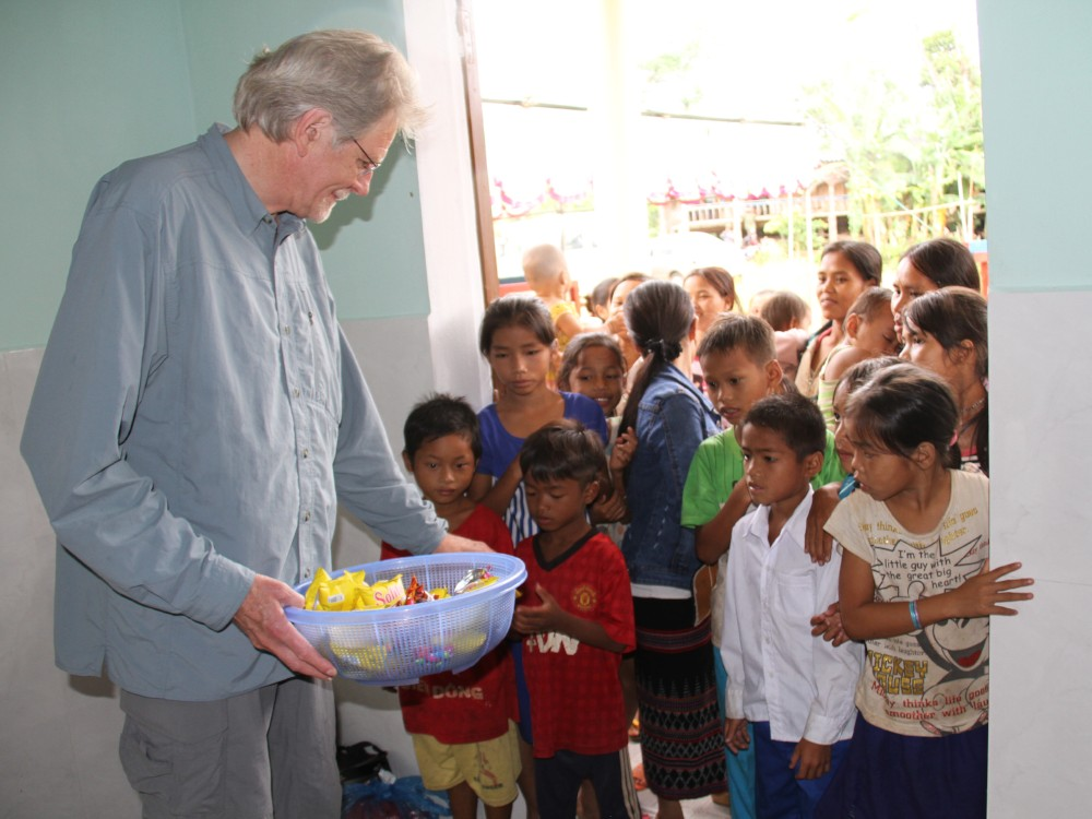Dan with children at a PeaceTrees Kindergarten