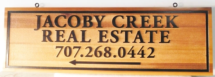 C12345 -  Engraved Western Red Cedar Sign for Jacoby Creek Real Estate Company