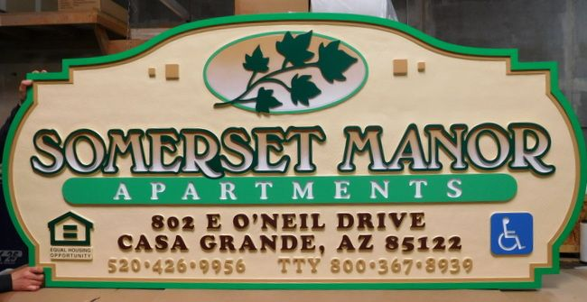 """M1644 Large Carved Entrance Sign for """"Somerset Manor Apartments"""". wiith Maple Leaf Branch (Gallery 19)"""""""