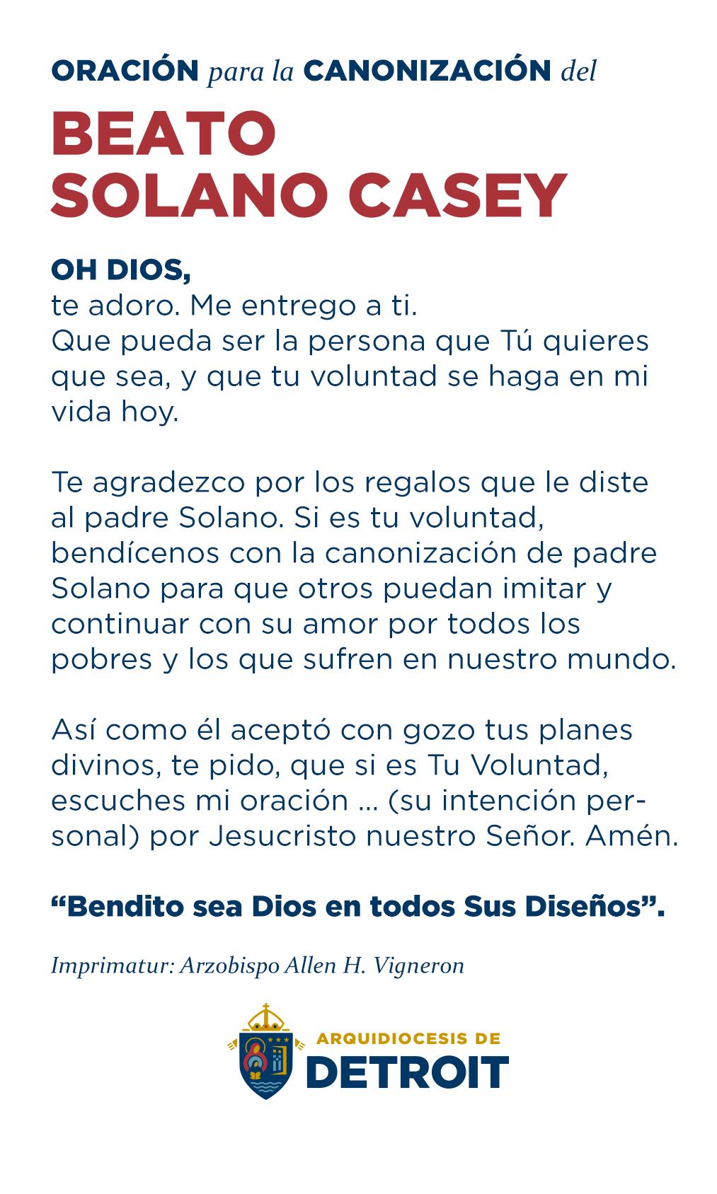 Oración para la Canonización del Beato Solano Casey