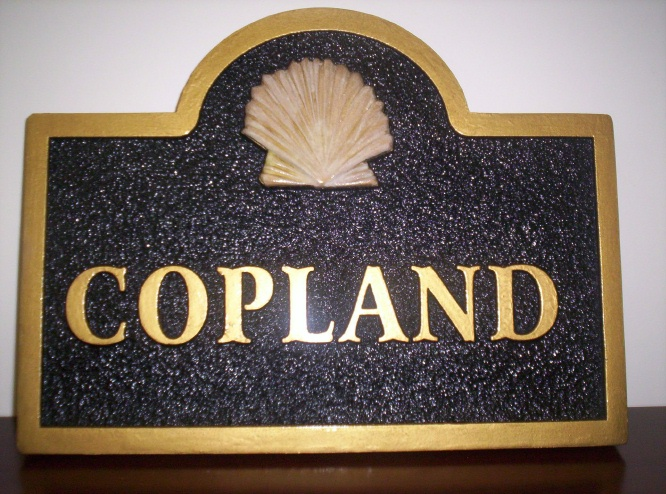I18704 - Property Name Sign for Coastal residence , with 3-D Carved Seashell