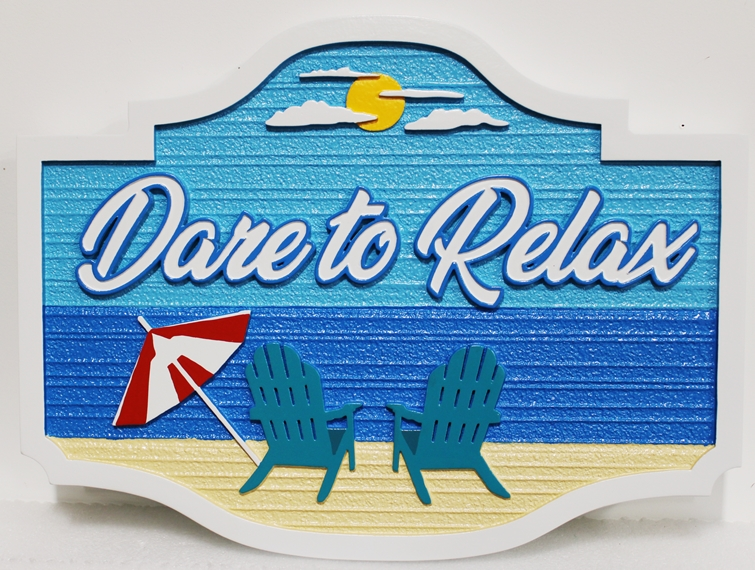 """L21026 – Carved 2.5D HDU Beach House Sign, """"Ultimate Pearl"""", with Two Chairs facing Ocean, """"Dare to Relax"""""""