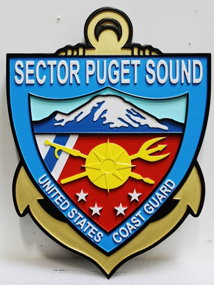 NP-2252 - Carved 2.5-D HDU Plaque of the Crest of the US Coast GuardSector Puget Sound