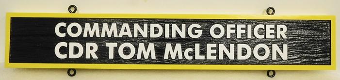 V31392F- Carved  Nameplate for a US Navy Officer, Commander