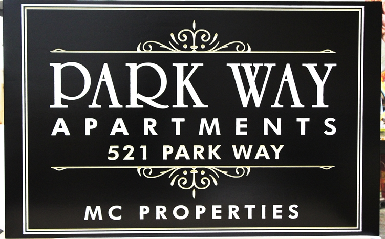 "-  Engraved High-Density-Urethane (HDU)  Entrance Sign for the ""Park Way Apartments"""