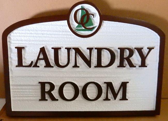 KA20619 - Carved Wood Grain HDU Sign for Seaside Apartment Laundry Room