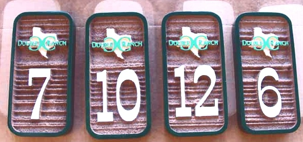 T29198 - Carved and Sandblasted Wood Grain  2.5-D High-Density-Urethane (HDU)  Room Number Plaques with Texas Ranch Logo