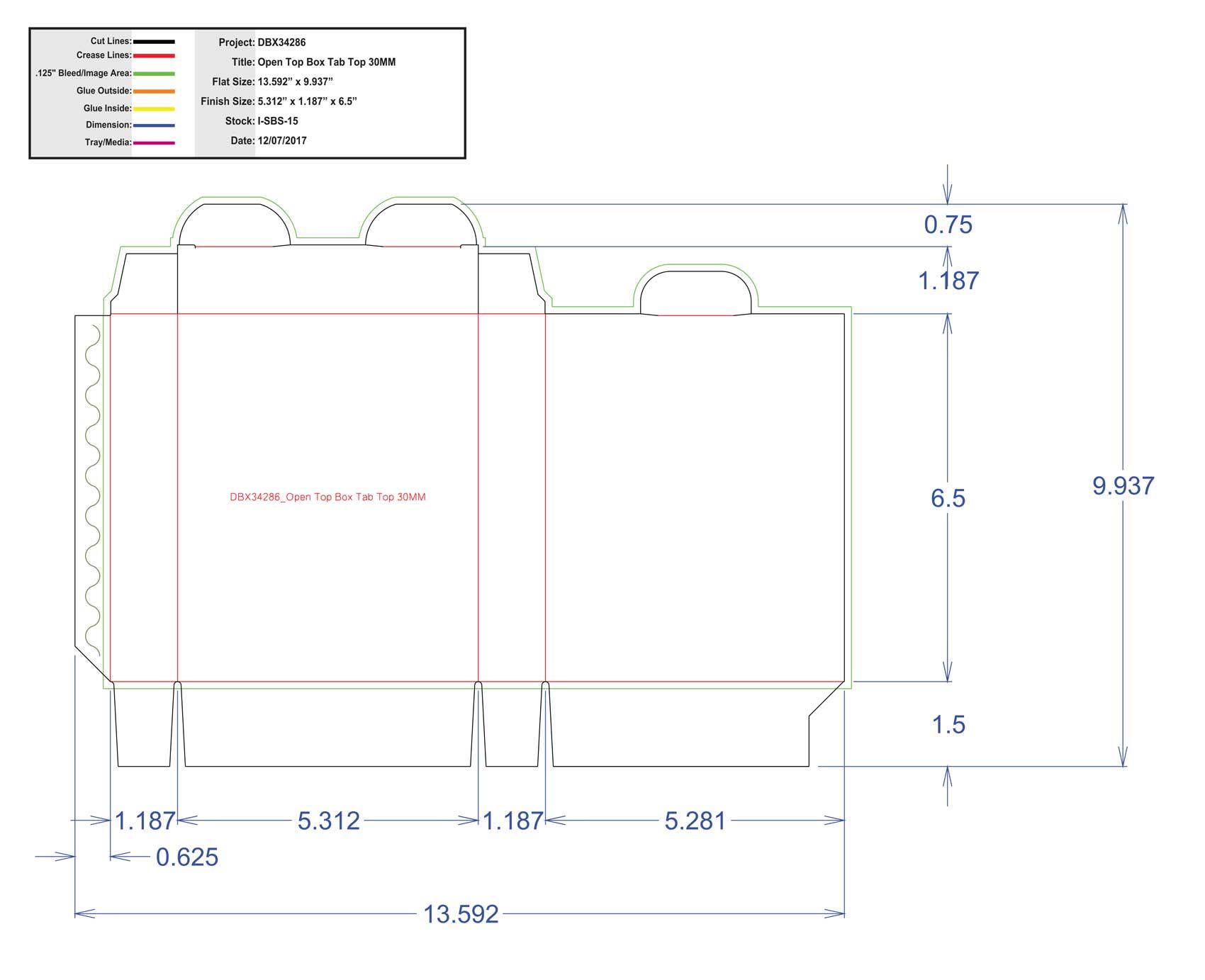 DBX34286 Open Top Box Tab Top 30MM