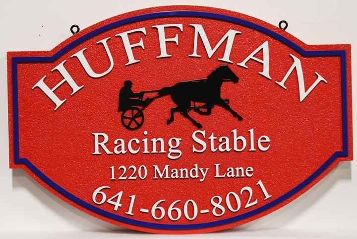 P25067 - Carved and Sandblasted  Address Sign for Huffman Racing Stables. with a Silhouette of a Harness Racer