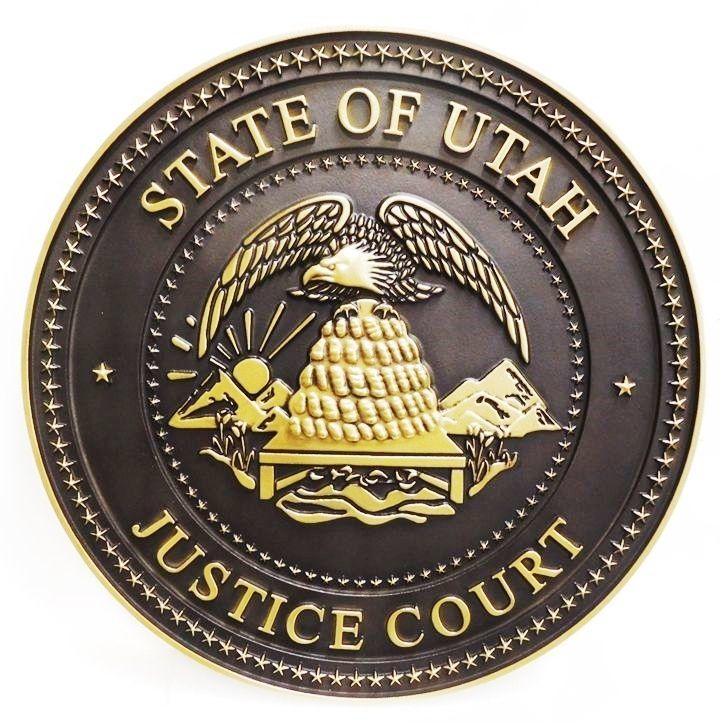 GP-1395 - Carved Plaque of the Seal of a Justice Court, State of Utah, 3-D Brass-plated