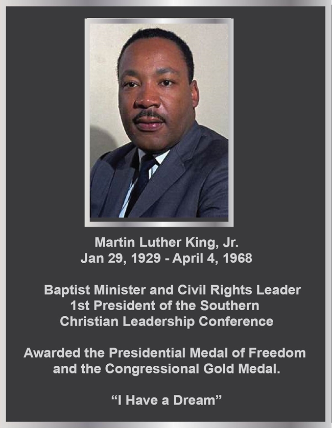 ZP-3010 - Carved Memorial Photo Plaque  for  Dr. Martin Luther King,  Painted Silver and Bronze